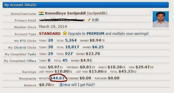 Clixsense member ne $44 ka earning kiya-see screenshot