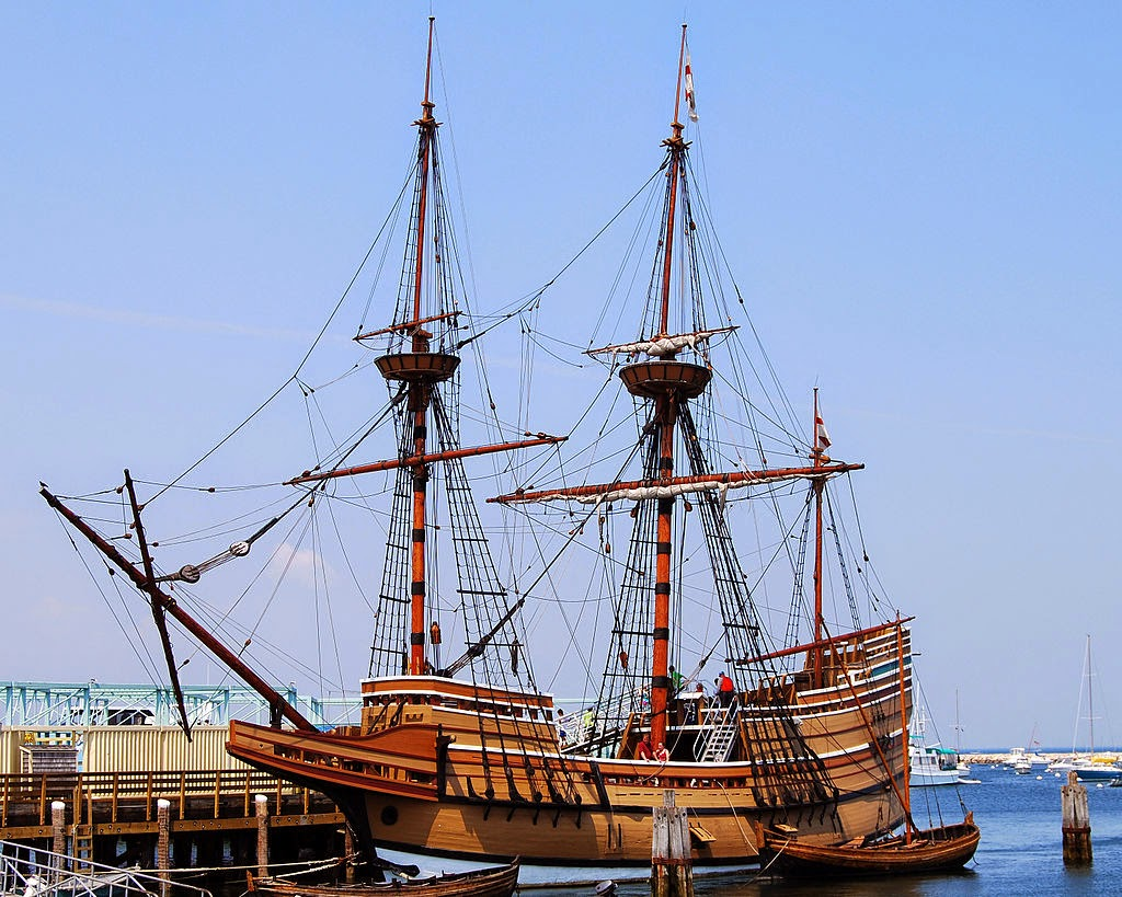 Mayflower II, una réplica del Mayflower, en Plymouth, Massachusetts, EE.UU.