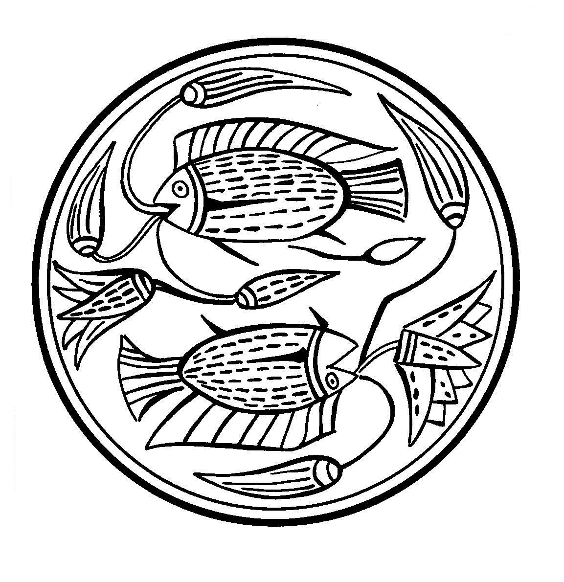 Mandalas Para Pintar: Pez Tilapia nilotica