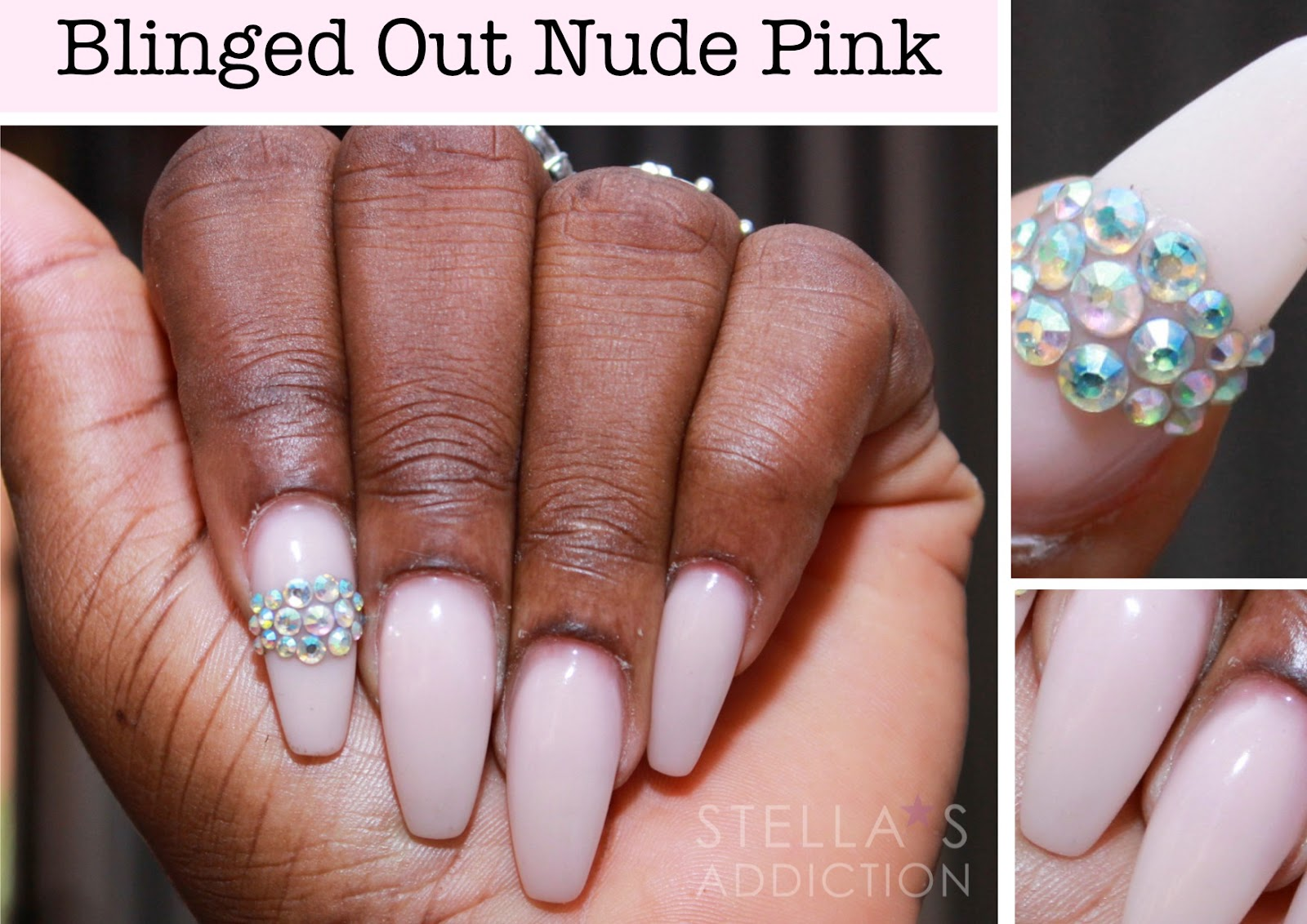 Notd blinged out nude pink nail art stellas addiction to achieve this design we used clear tips covered in nude pink acrylic powder from peggy sage paris and feature nails embellished with crystals from amazing prinsesfo Gallery