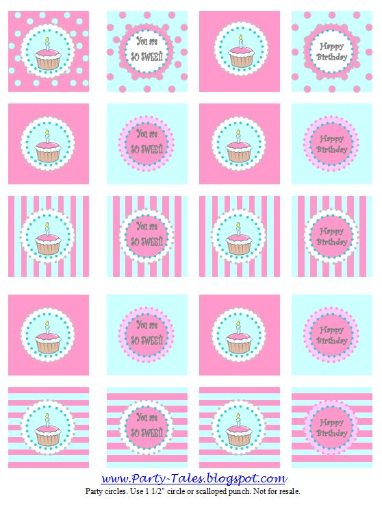Free Printable Images Of Cupcakes : Party-Tales: ~ Party Printable ~ Cupcake toppers and ...