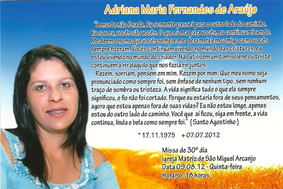 Os Familiares E Amigos De Adriana Maria Fernandes De Araujo Convidam A