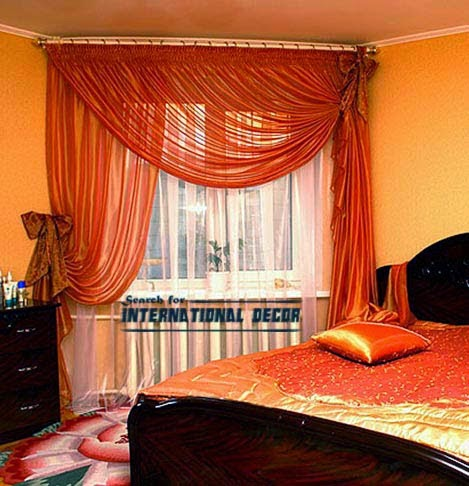 orange curtains, bedroom curtains, unique curtain designs, bedroom window curtains