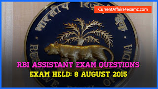 8 August 2015 RBI Assistant Exam