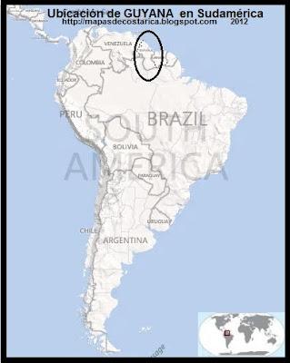 Ubicación de GUYANA en Sudamérica, BING