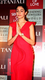 Anushka Sharma Stills in Red Dress at Gitanjali Jewels New Collection Launch ~ Celebs Next