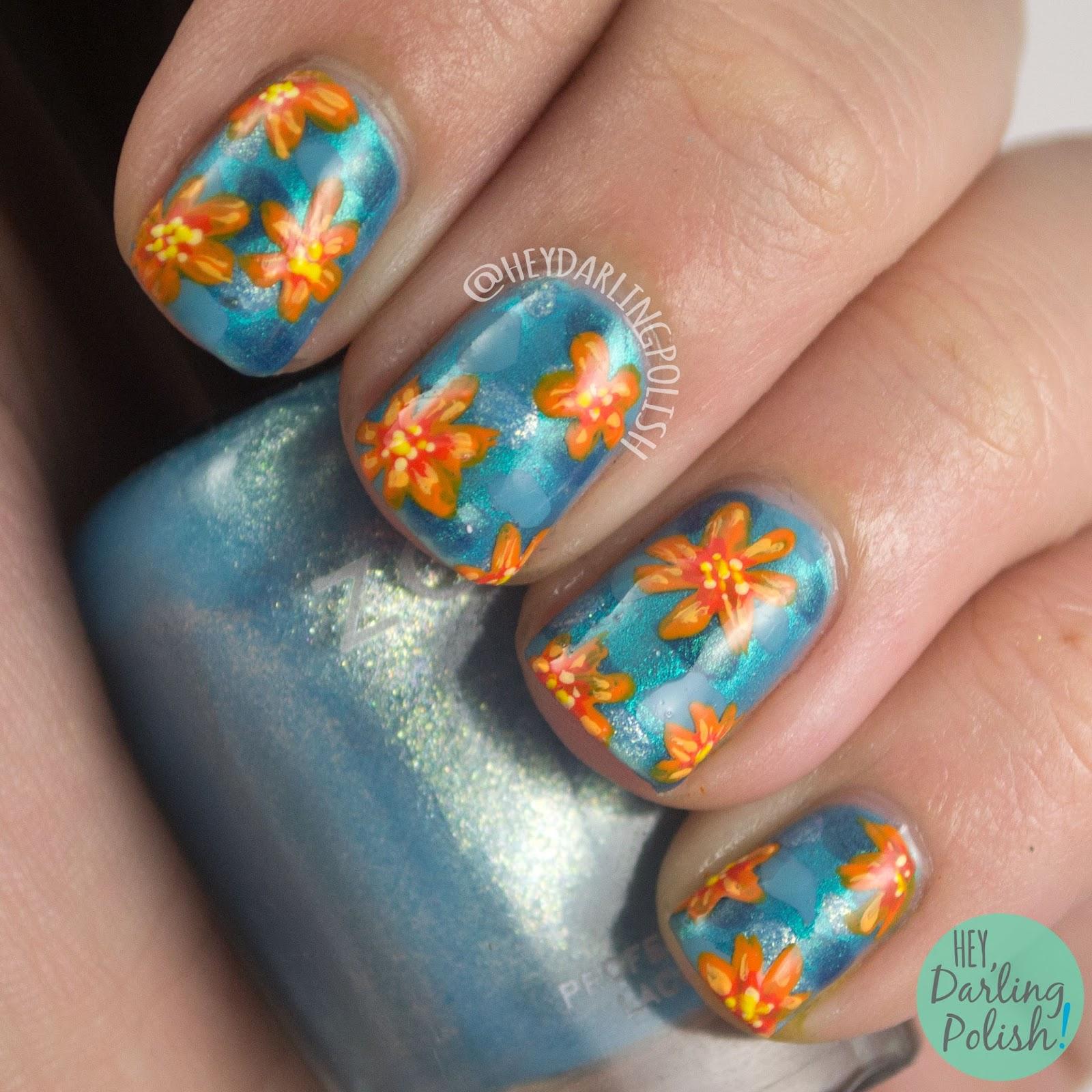 nails, nail art, nail polish, orange, blue, mosaic, freehand, hey darling polish, freehand nail art challenge
