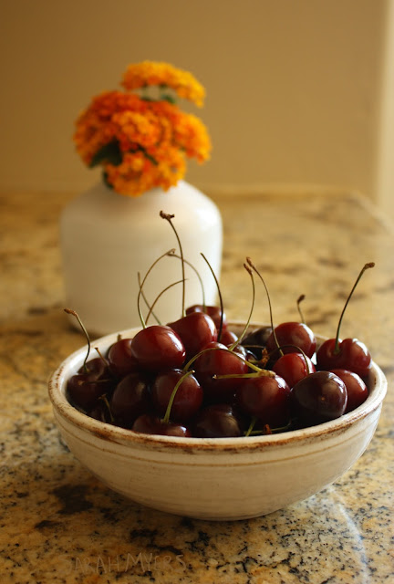 cherries, fruit, flowers, orange, morning, photography, sarah, myers, photograph, food, amy, myers, ceramics, rustic, collection, white, handthrown, pottery, kitchen, granite,still-life,