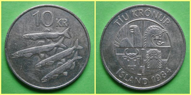 Moneda 10 Coronas Islandia