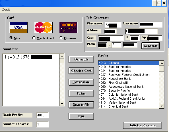 Credit Card Numbers Generator