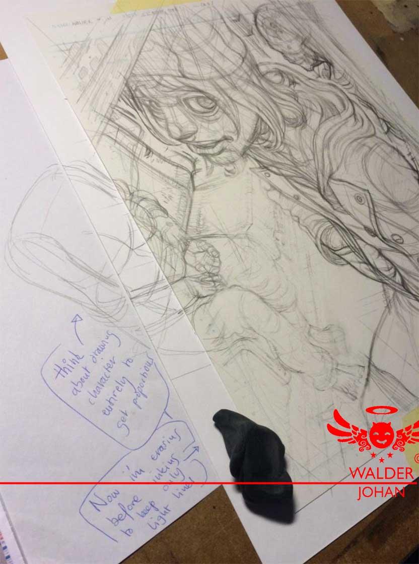 Première planche - page d'intro - placer l'atmosphère sombre et le personnage