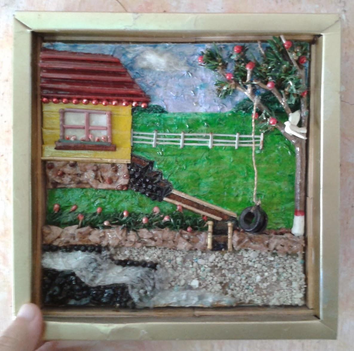 Cuadro en relieve hecho con materiales reciclados - Como hacer cuadros caseros ...