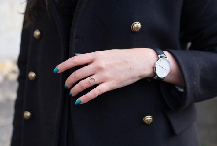 military coat, diamanti per tutti ring, daniel wellington watch