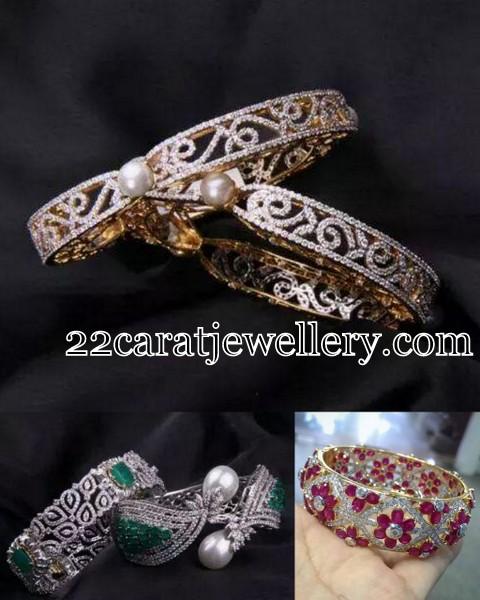 Trendy Diamond Ruby Bangles