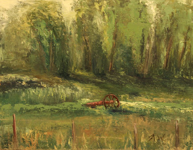 """Broken Axle"" Plein Air, Wheeler Farm, July 23 2011 Recieved Honorable Mention Award"
