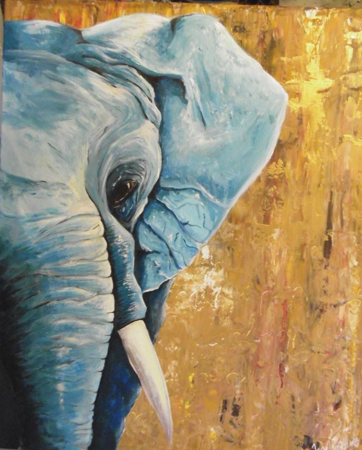 Peinture acrylique 50 x 60 cm l 39 l phant bleu le - Bleu vintage peinture ...