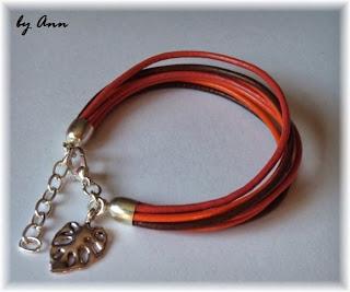 bransoletka rzemykowa pomarańcz brąz zawieszka liść