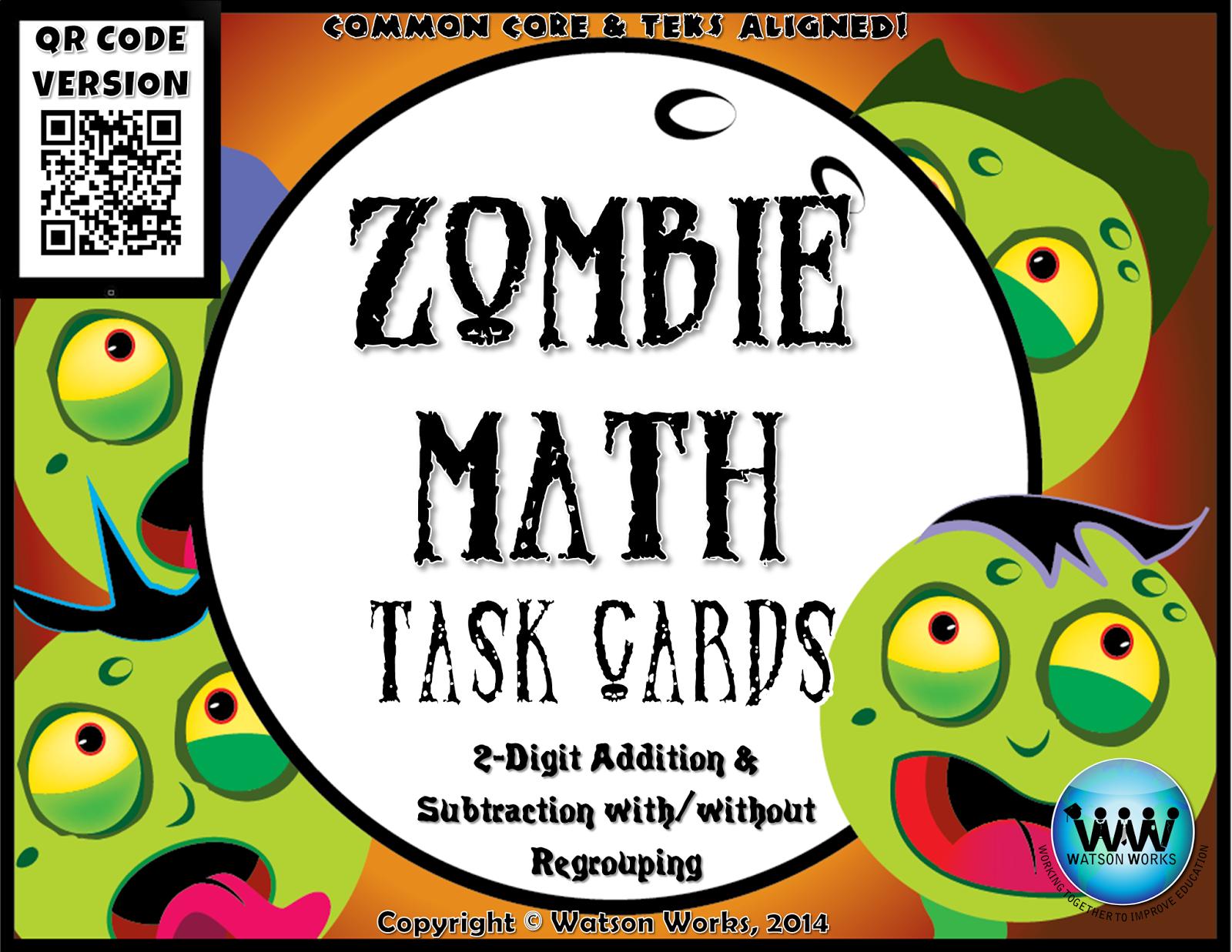 http://www.teacherspayteachers.com/Product/Zombie-Math-Task-CardsQR-Code-Version-2-Digit-Addition-Subtraction-1519511
