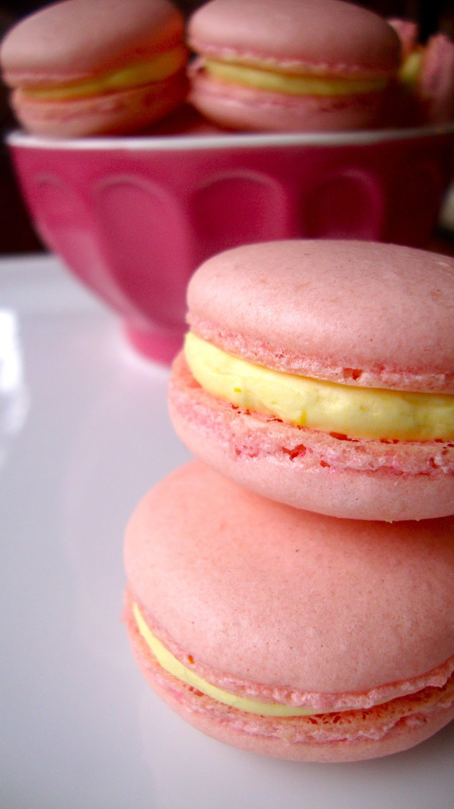 Raspberry Macarons with Meyer Lemon Filling
