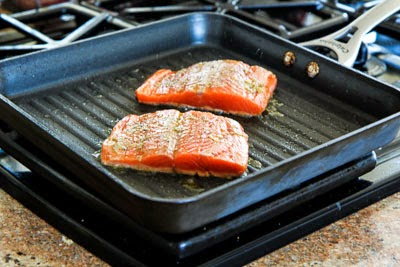 salmon cooking for Easy Recipe for Greek Salmon Cooked in a Grill Pan found on KalynsKitchen.com