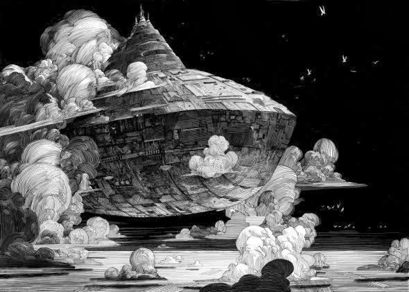 Nicolas Delort ilustrações preto e branco traços sombrio