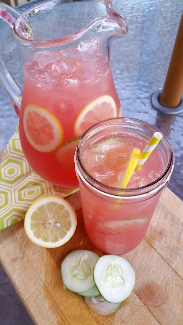 Glass Pitcher, mason jars, lemons, paper straw