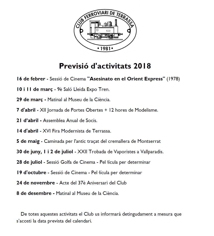 Actualització de la Previsió d'activitats - 5-GEN- 2018