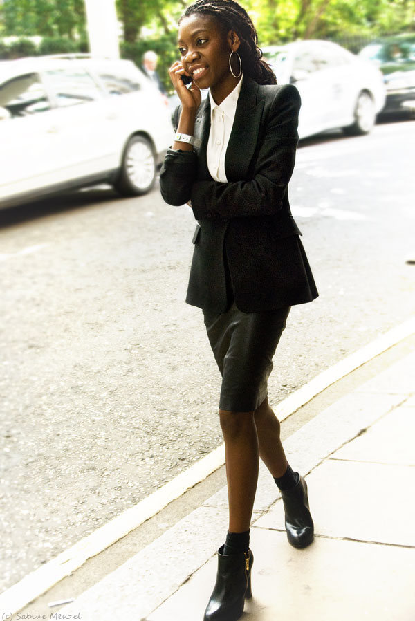 Psynopsis Streetstyle London Black Leather Skirt Black Blazer