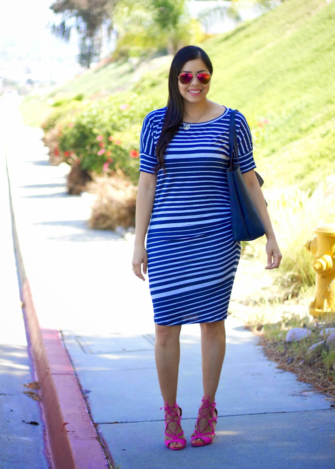Cabi Striped T- Dress,  Striped rouched dress, cabi clothing, San Diego Fashion Blogger, San Diego Style Blogger, San Diego Fashion