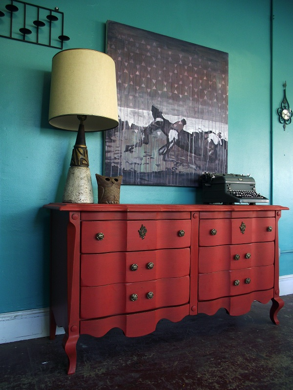 Antique Red Six Drawer Dresser