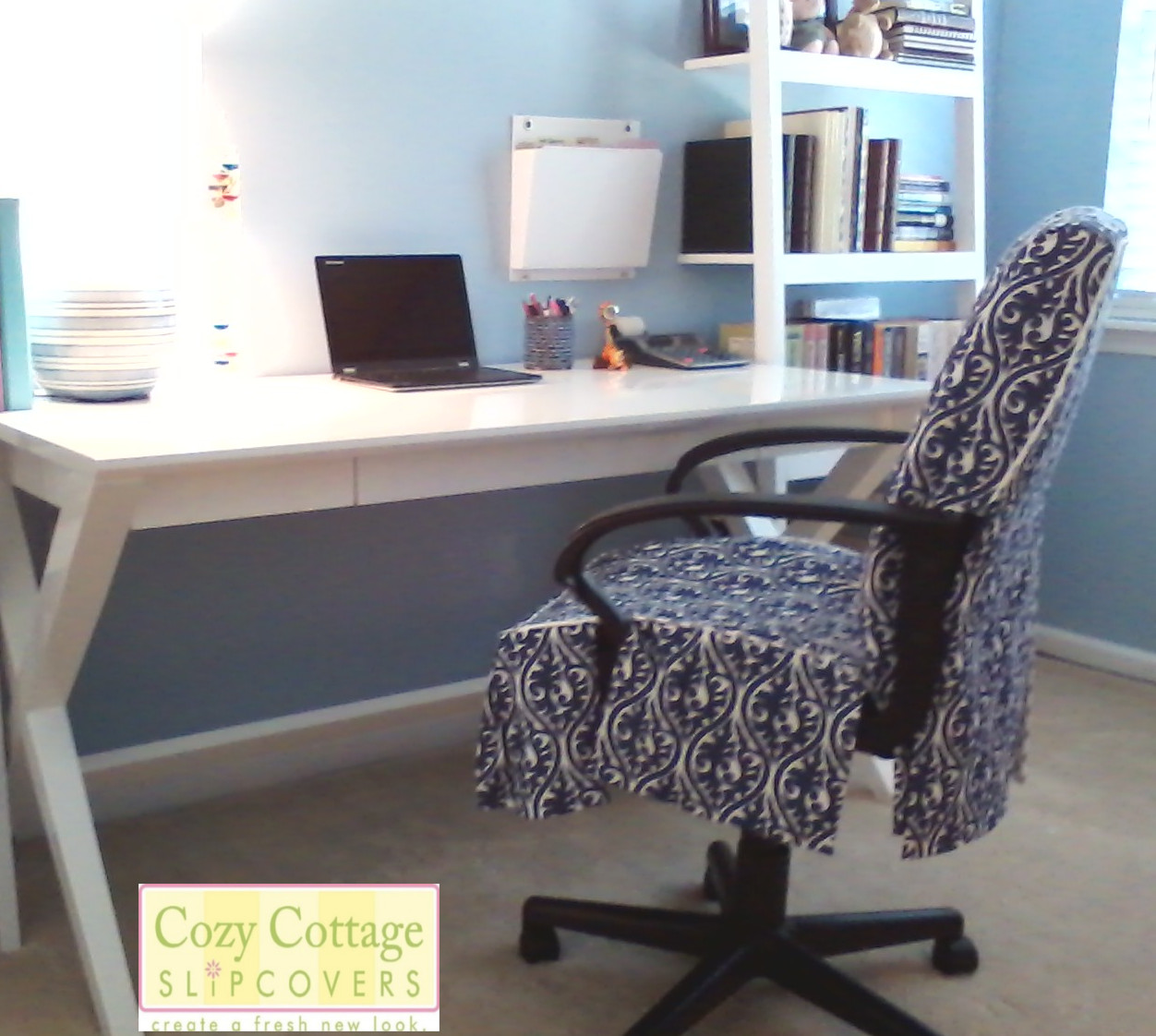 Cozy cottage slipcovers new office chair slipcovers -  Slipcovers Look In Their Office Space Metal Clasp Closure Posted By Cozy Cottage