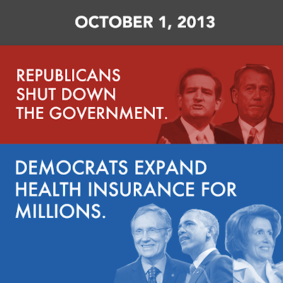October 1, 2013 - Republicans shut down the government.  Democrats expand health insurance for millions of Americans.