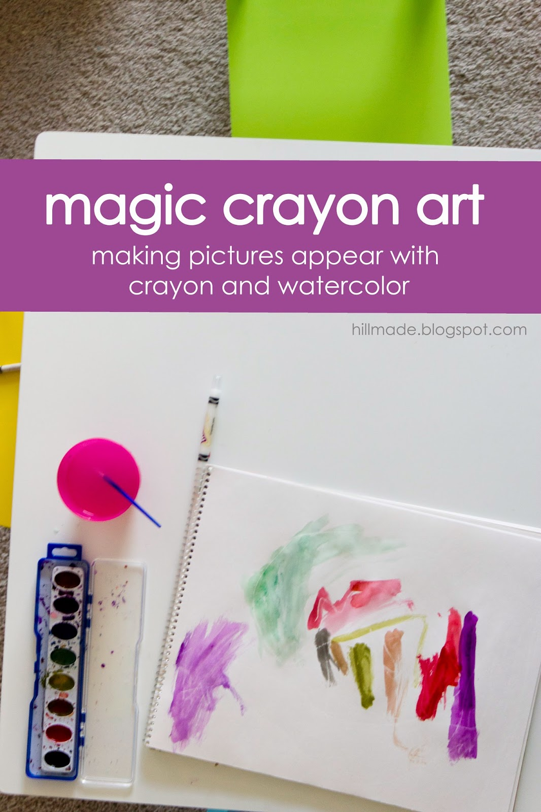 Magic Crayon Resist Art | hillmade.blogspot.com | Draw a picture with white crayon and watch it appear with watercolor!