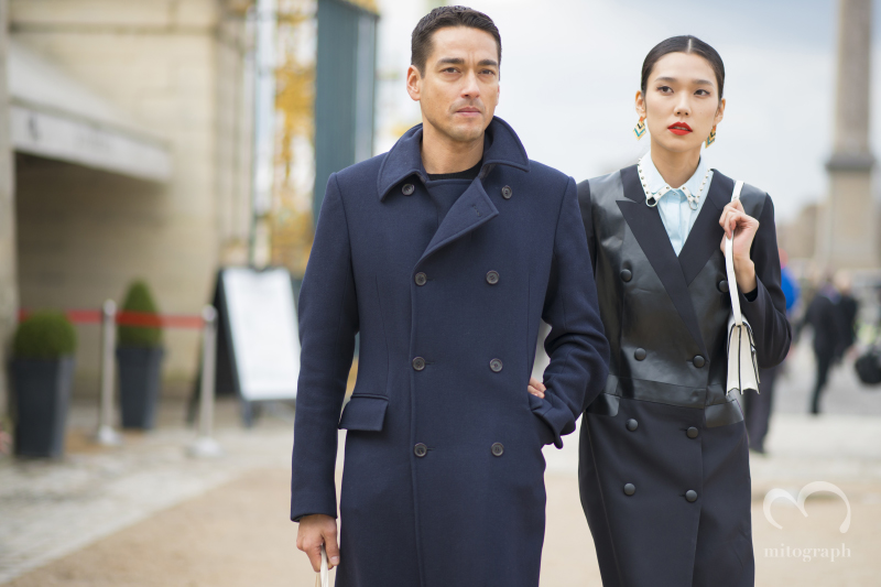 Actress Tao Okamoto with her boyfrined at Paris Fashion Week