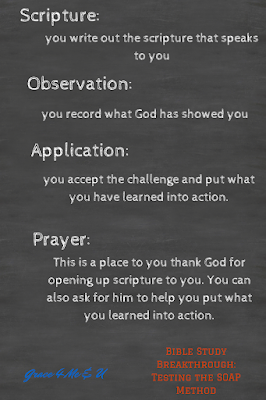 How do you study your Bible? Do you start and then forget what your doing? Does your Bible Study lack direction? Why not try the SOAP method? It is a breakthrough of distractions, and oh so simple.  | Grace 4 Me & U
