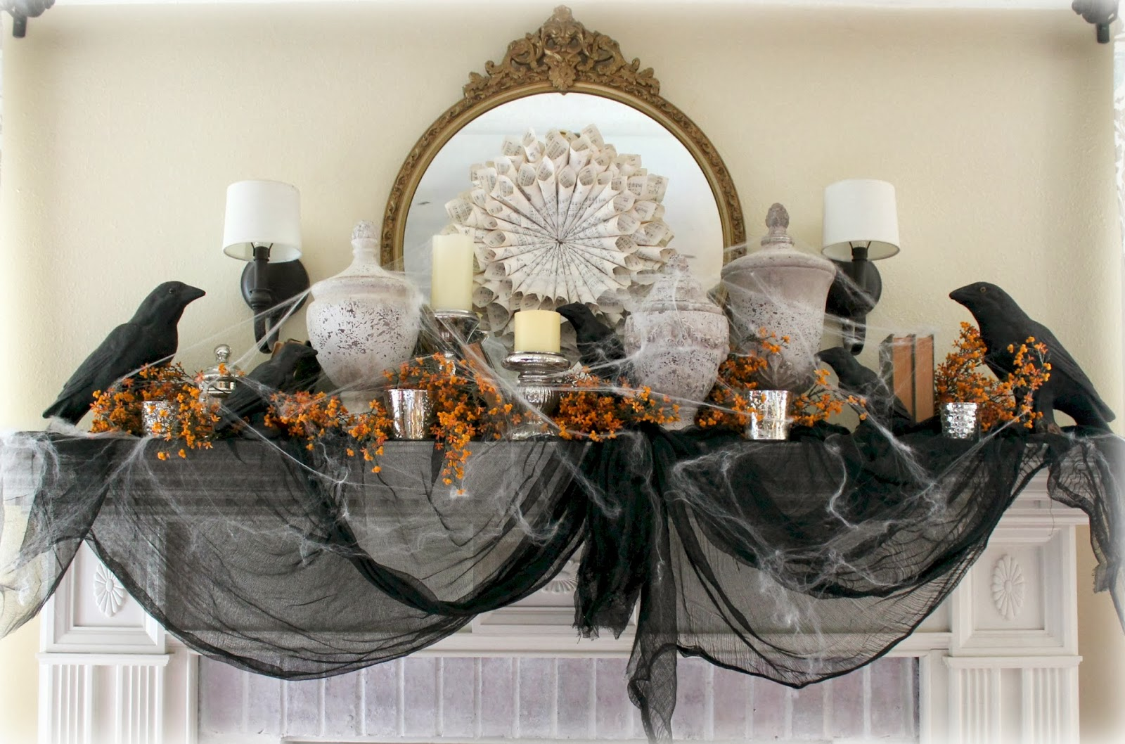 the fancy shack halloween chic mantle vintage market days. Black Bedroom Furniture Sets. Home Design Ideas
