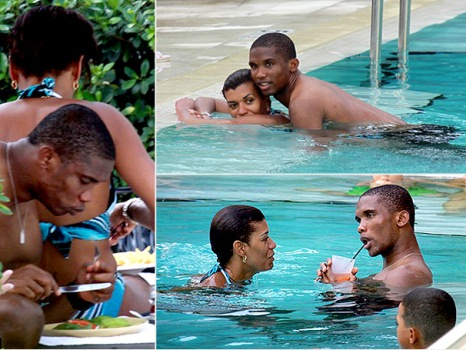 Samuel Eto's Wife exposes Breatises at public pool