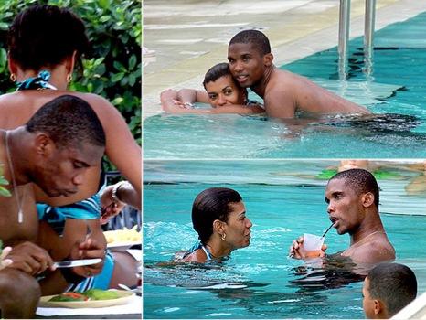 Samuel Eto's Wife exposes Breatises at public pool