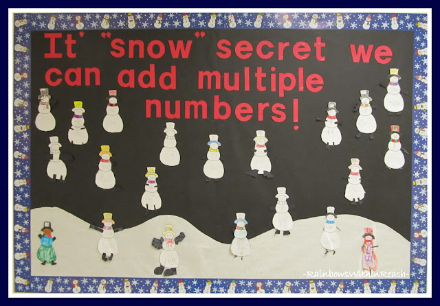 "photo of: ""It's SNOW Secret We Can Add Multiple Numbers"" Bulletin Board in Winter RoundUP at RainbowsWithinReach"