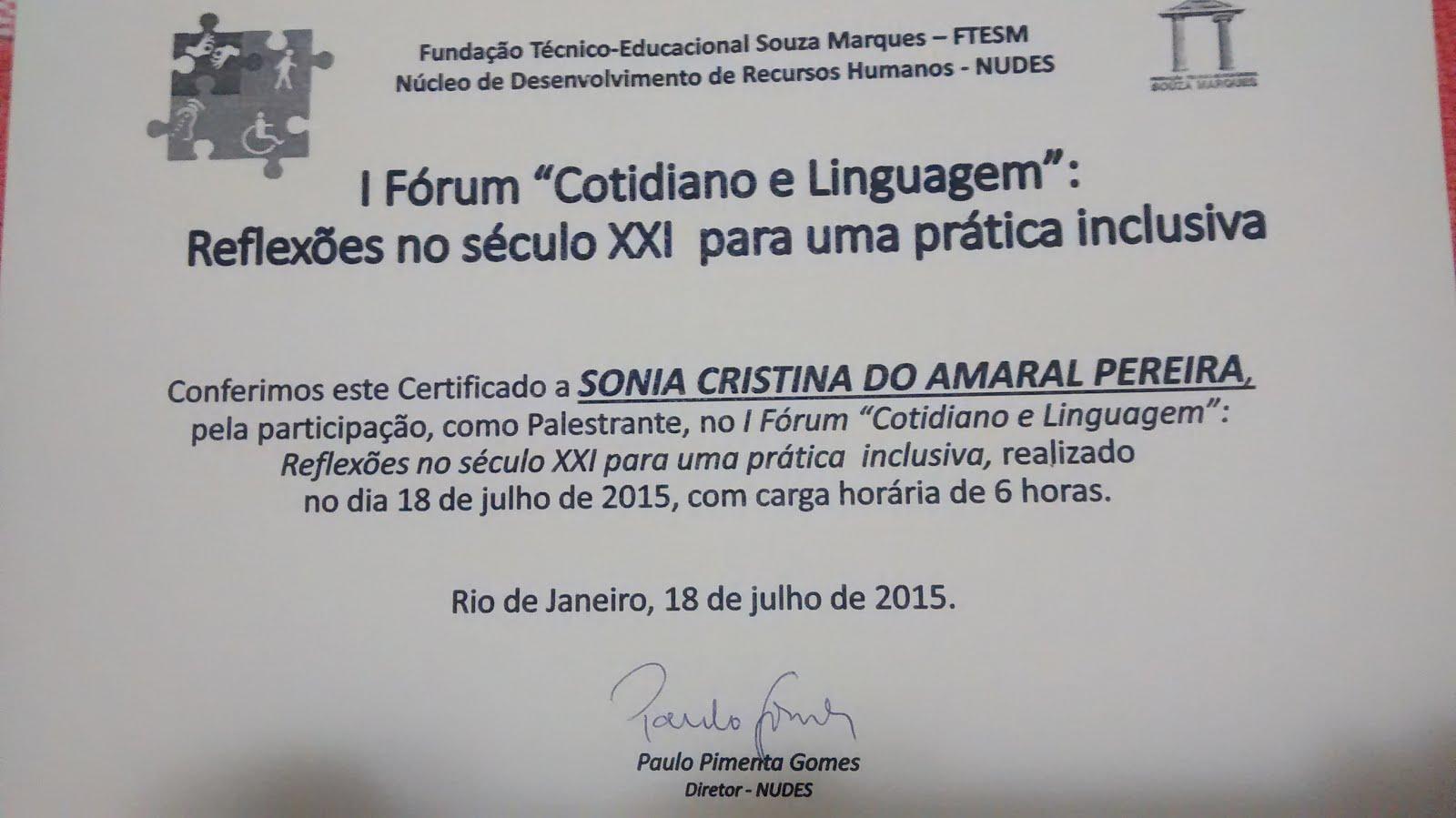 """I FÓRUM """"COTIDIANO E LINGUAGEM"""""""