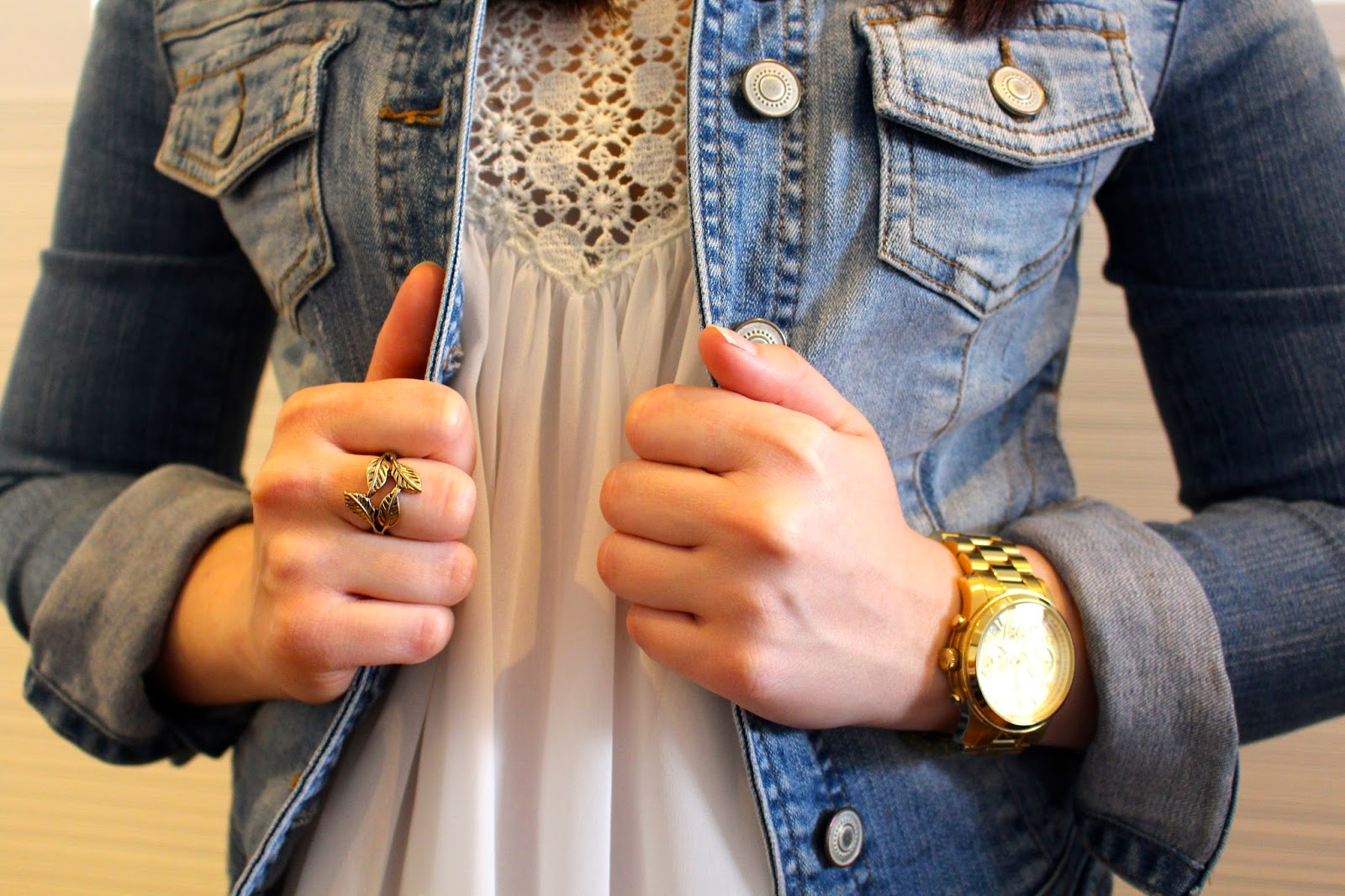 Black high waisted skinny jeans, zara sheer lace top, black booties, dotti denim jacket, michael kors watch, lovisa gold leaf ring, winter outfit, spring outfit, autumn outfit, fall outfit, everyday outfit, petite girl outfit, short girl outfit,