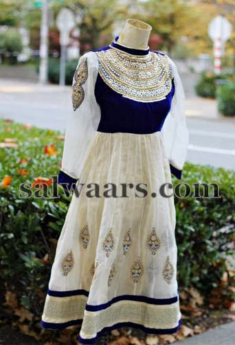 High Neck White Blue Salwar