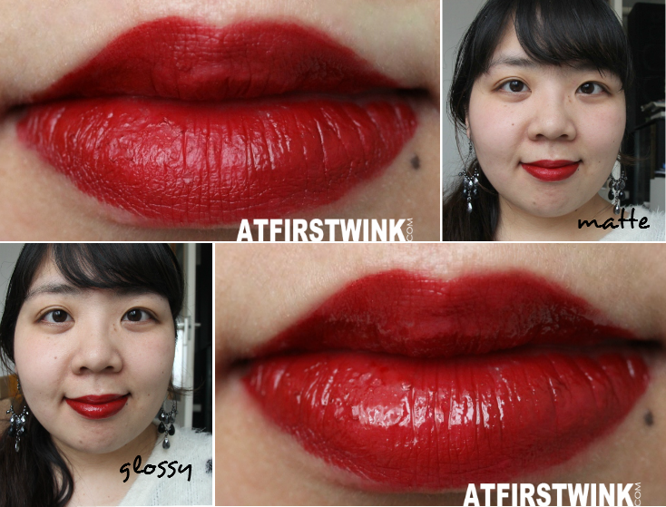 Rimmel Provocalips 550 - Play With Fire matte and glossy lip swatches and full face