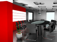 modern design office meeting room black grey red