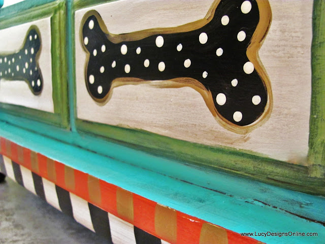 whimsical painted dog bones shape