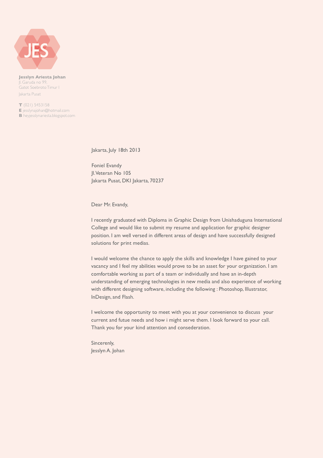 Sample Cover Letter Graphic Design Primary Concept Stylish