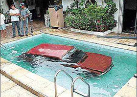Sation Wagon in a pool