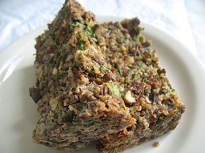 Spicy Lentil Quinoa Nut Loaf