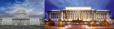 A sinistra il Campidoglio a Washington, a destra St George's Hall a Liverpool