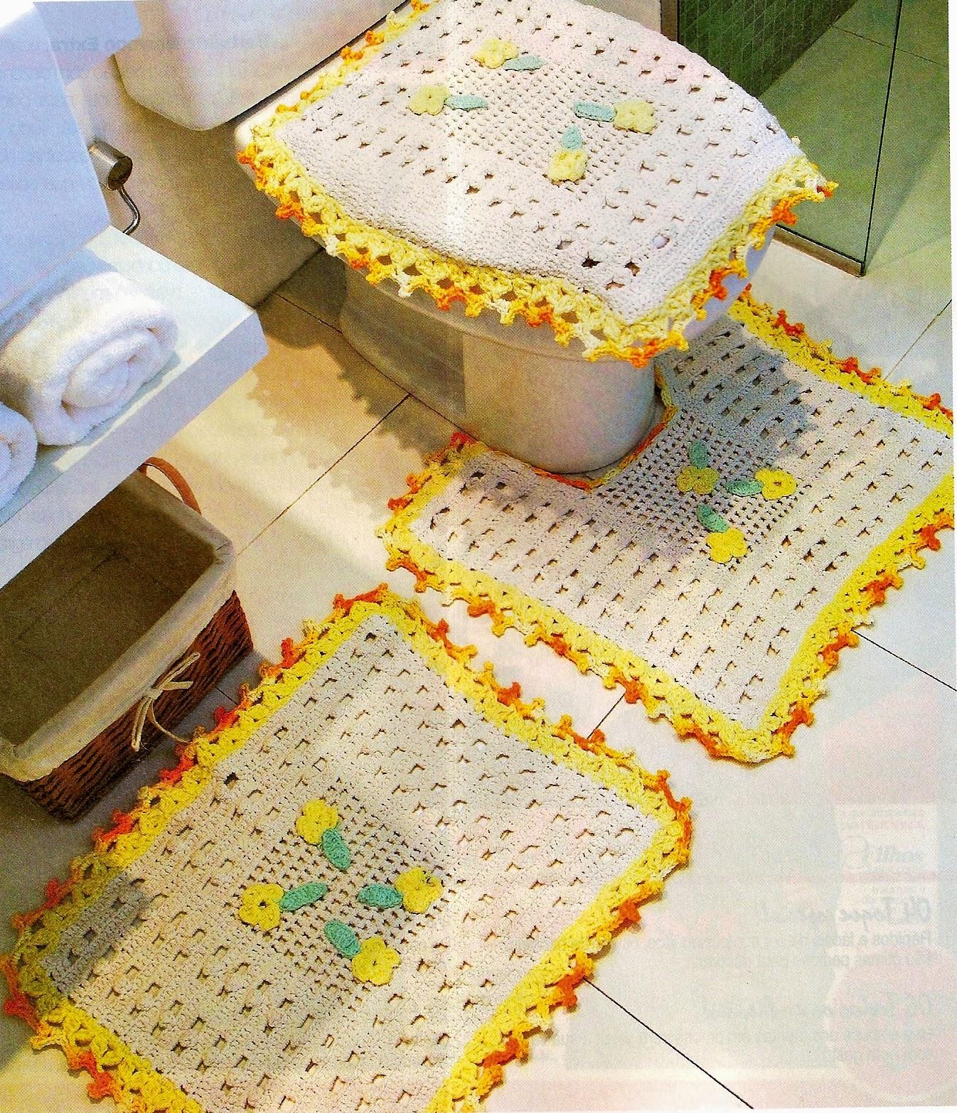 CROCHE COM RECEITA: Tapetes em crochê bem simples para o banheiro #B19B1A 1346 1566